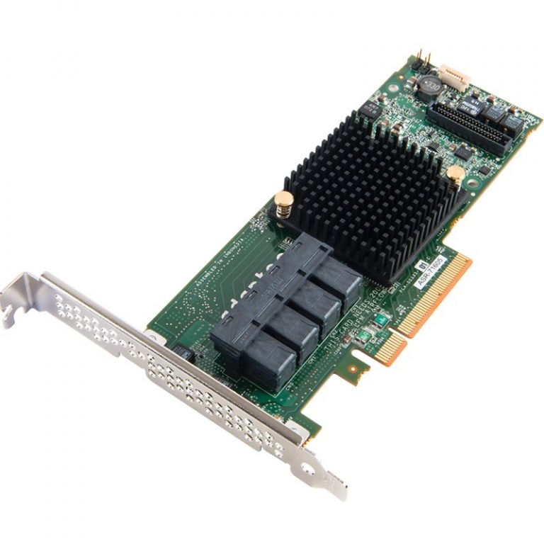 Adaptec by PMC RAID, 2277500-R, 8 Internal ports, 2 SFF 8643 (int) conectors, x8 PCIe Gen 3, PMC PM8063, 1024 MB
