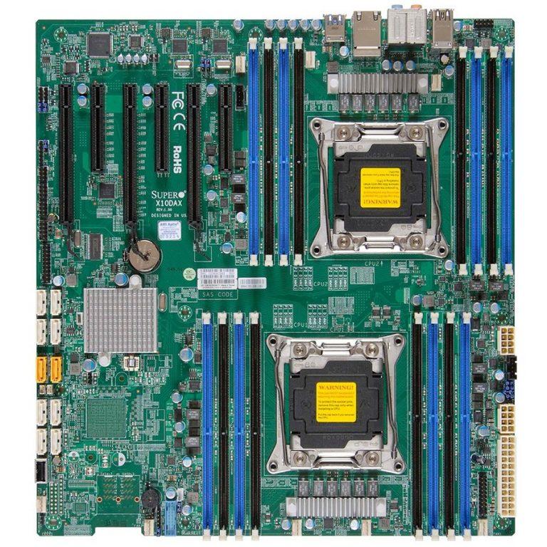 Supermicro MBD-X10DAI-O, Dual SKT, Intel C612 chipset, 16xDIMMs DDR4 LR/RDIMM2400, 10xSATA3 6G, 2xSATA-DOM, 2x1GbE i210, IPMI2.0+IP-KVM, 5xPCIe3.0/1xPCIe2.0 slots, 7.1 HD Audio, E-ATX 12×13, Retail