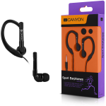 CANYON sport earphones, over-ear fixation, inline microphone, black