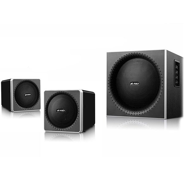 Multimedia Bluetooth Speakers F&D A150X (2.1 Channel Surround, 42W, 200-20KHz, Subwoofer: 50-118Hz, Bluetooth 4.0, NFC, USB/SD card reader, FM, digital, Remote Control, Wooden, Black)