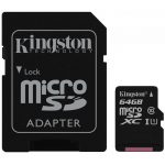 Kingston  64GB microSDXC Class 10 UHS-I 45MB/s Read Card + SD Adapter, EAN: '740617246155
