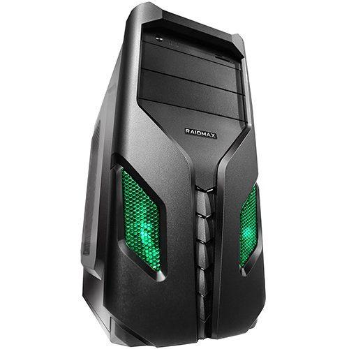 Chassis EXO, ATX/ MICRO ATX/ MINI ITX, 7 slots, 2 X 5.25″, 2 X 3.5″ H.D., 3 X 3.5″ SSD, 1 X USB2.0 / 2 x AUDIO / 1 x USB3.0, PSU Optional,1 X 120mm Front LED fan /Optional/ , 1 x 80mm Back Black FAN, 2 X 120mm Side LED fan /opt./, Black/Green