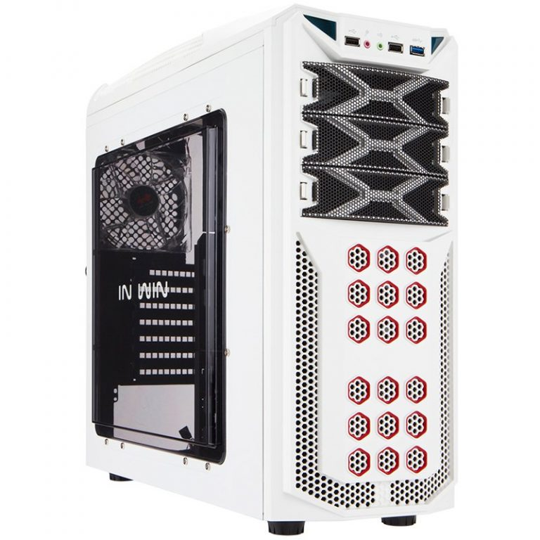 "Chassis In Win GT1 Mid Tower ATX SECC Steel, EX 5.25″x3, 3.5""/2.5""x6(EZ-Swap x4),2.5""x2,Fan Speed Controller 3.5""/2.5"" SATA HDD EZ-Swap x1,USB 3.0×1,USB 2.0×2,HD Audio,PCI-E Slot x7,up to 120mm Fan x8, White"