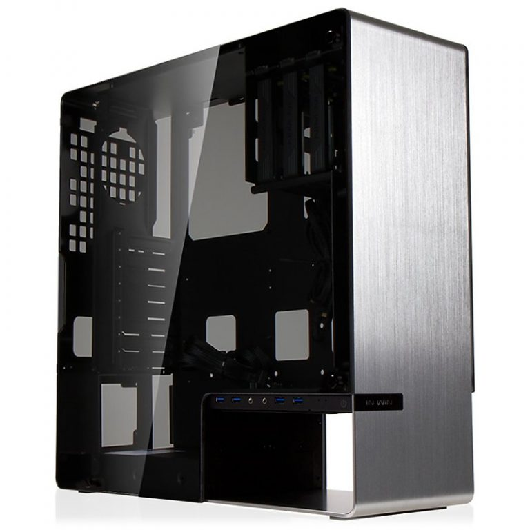 Chassis In Win 904 Plus Mid Tower ATX 2mm/4mm Aluminum Tempered Glass,EX 5.25″ x1, 3.5″/2.5″(D EZ-Swap) x3, 2.5″ x2,USB 3.0×4,HD Audio,90mm Fan x1,140mm Fan x1, Water-Cooling Hole Ready, Silver
