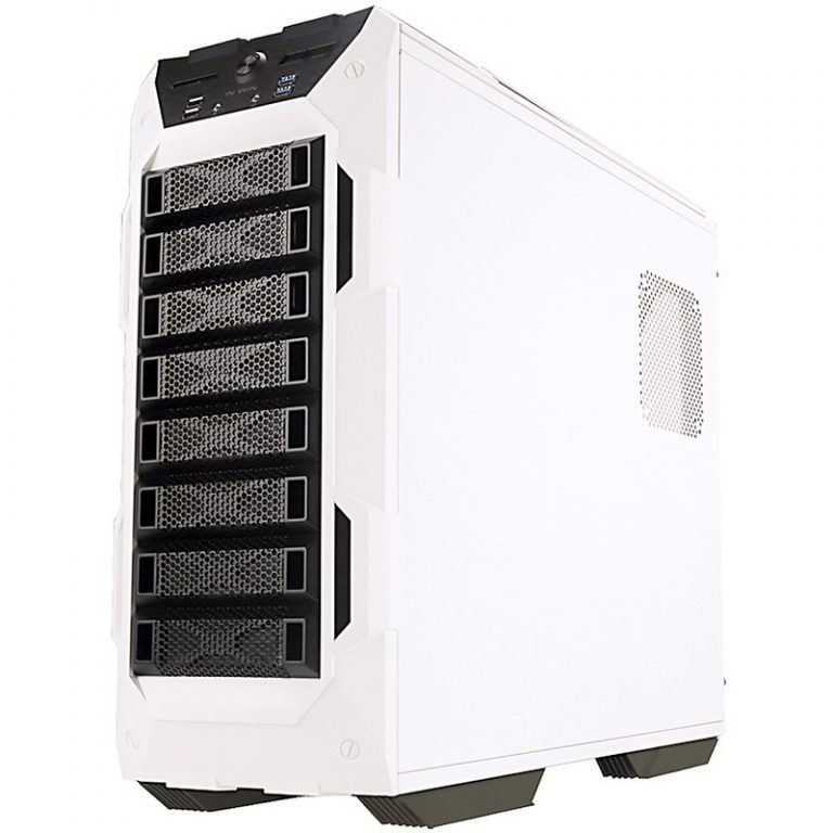 Chassis In Win GR One Full Tower E-ATX(12″x13″) 0.8mm SECC Steel,3.5″x8 or 2.5″x8,3.5″/2.5″ SATA HDD EZ-Swap x1, USB 3.0×2,USB 2.0×2,HD/AC'97 Audio,Fan Speed Controller, Supports up to Total 120mm or 140mm Fan x 10,  Water-Cooling Ready,White/Black