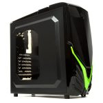 Chassis VIPER II BG Middle Tower, ATX, 7 slots, 3 X 5.25″, 3 X 3.5″ H.D. or 3 X 2.5″ SSD, 2 x HD AUDIO / 1 x USB3.0 / 1 x USB 2.0  PSU Optional, 2 X 120mm front LED fan (optional), 1 x 120mm Black frame with Black leaves fan, Black/ Green