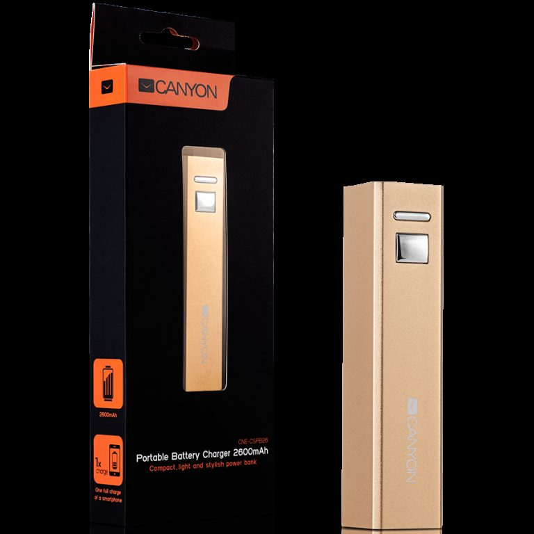 CANYON CNE-CSPB26GO Aluminium compact battery charger. Color: golden, Capacity: 2600mAh, Output: DC5V 1A, Input: DC5V 1A Output Charging: 1.5-2 hours, Input Charging: 2-3 hours. Cycle Life: 500 times