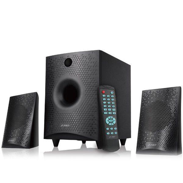 Multimedia Bluetooth Speakers F&D F210X (2.1 Channel Surround, 15W, 130Hz-20KHz, Subwoofer: 30Hz-130Hz, Bluetooth 4.0, USB/SD card reader, FM, digital, LED display, Wooden, Black