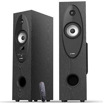 Multimedia Speakers F&D T-30X (2.0,Floor Standing 2x28W, 20Hz-20kHz, BT4.0/USB/SD/FM/KARAOKE/RC,LED display, Wooden, Black)