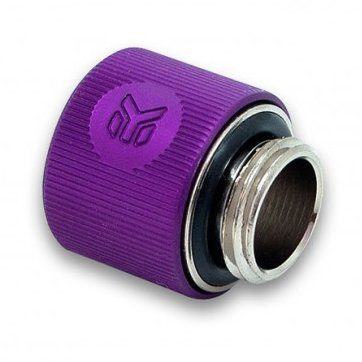 EK-ACF Fitting 10/13mm – Purple, thread: G1/4″ BSP; 4.5mm male thread length, supported tube: 3/8″ / 1/2″ ID/OD (roughly equalls 10/13mm ID/OD)