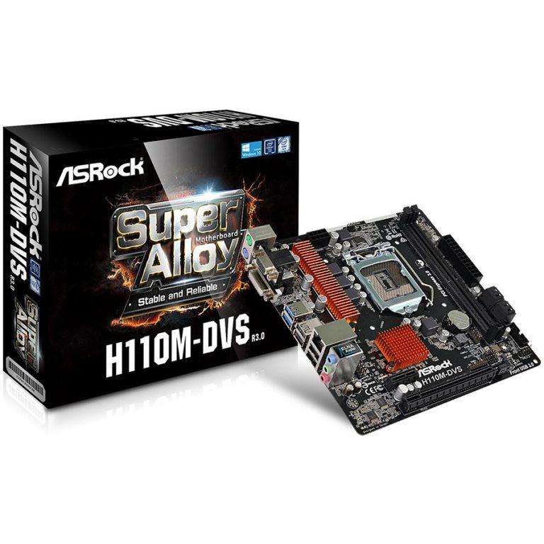 ASROCK H110 (S1151, 2xDDR4,1xPCIE3.0 x16,1 x PCIE2.0 x1, 4xSATAIII, USB2.0, USB3.0, GLAN,VGA, DVI-D) mATX