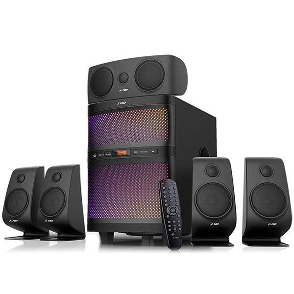 Multimedia Bluetooth Speakers F5060X Bluetooth 4.0, (5.1 Channel Surround, 5Wx5+60W (RMS), 160Hz~20KHz, Subwoofer: 25Hz~85Hz, USB/SD card reader, FM, remote control, Wooden, Black)