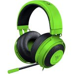 Razer Kraken Pro V2 – Analog Gaming Headset – Green –OVAL Ear Cushions. 50 mm audio drivers ,Unibody aluminum frame ,Fully-retractable microphone with in-line remote,3.5 mm combined jack.