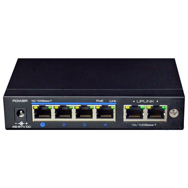 4-port PoE Switch 10/100, 1 Uplink port, CCTV standard – 10Mbps (up to 250 m), MDI/MDIX, 26W per port.