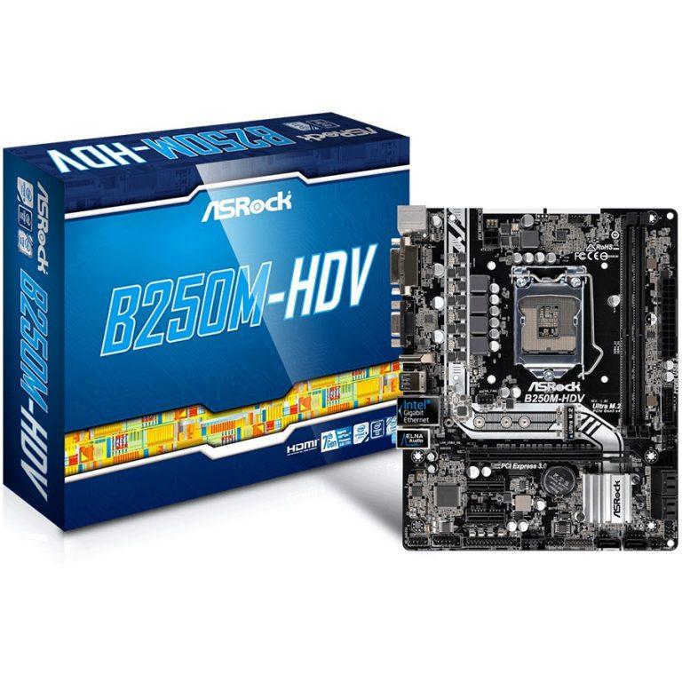 ASROCK Main Board Desktop B250M HDV (S1151, 2xDDR4, 1xPCI E x16, 2xPCI E 3.0×1, SATA III , LAN, VGA, DVI, HDMI, USB3.1, USB3.0) mATX retail