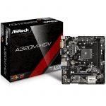 ASROCK Main Board Desktop AM4 A320, 2xDDR4, 1xPCI-E x1, 1xPCI-E x16, HDMI, DVI-D, D-Sub, 4 SATA3, 1 Ultra M.2 NVMe , 6 USB 3.0 (2 Front, 4 Rear), Header ( 1 x Print Port- 1 x COM Port ) Micro ATX