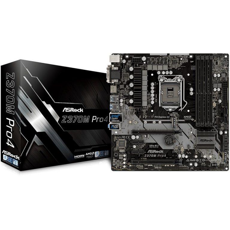 ASROCK Main Board Desktop Z370 (S1151, 4xDDR4,2xPCIe x16,2xPCI Ex1, 6 SATA3, 1xUltra M.2 ,GLAN,VGA, DVI, HDMI, USB 3.1 ) mATX retail