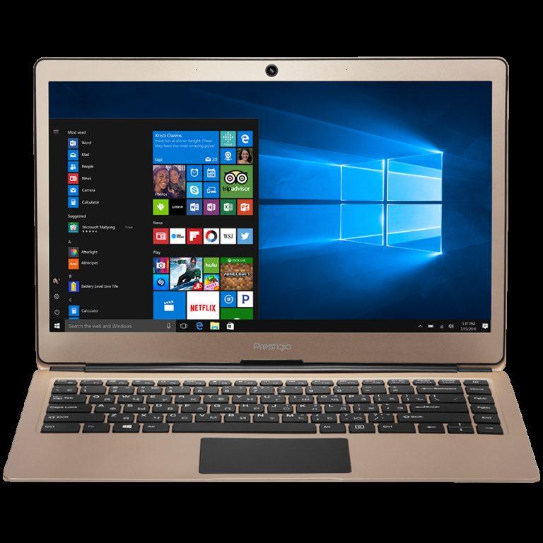 Prestigio SmartBook 133S, 13.3″(1920*1080) IPS (anti-Glare), Windows 10 Pro, up to 2.4GHz DC Intel Celeron N3350, 3GB DDR, 32GB Flash, BT 4.0, WiFi, Micro HDMI, SSD slot (M.2), 0.3MP Cam, EN+BG kbd, 5000mAh, 7.4V bat, Gold
