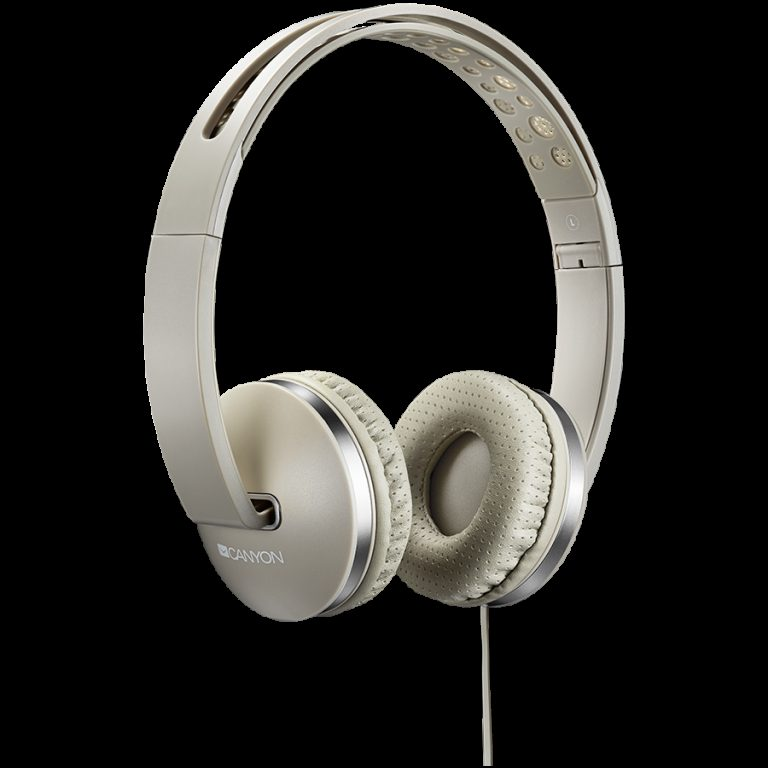 CANYON Stereo headphone with microphone and switch of answer/end phone call, cable 1.2M, Beige