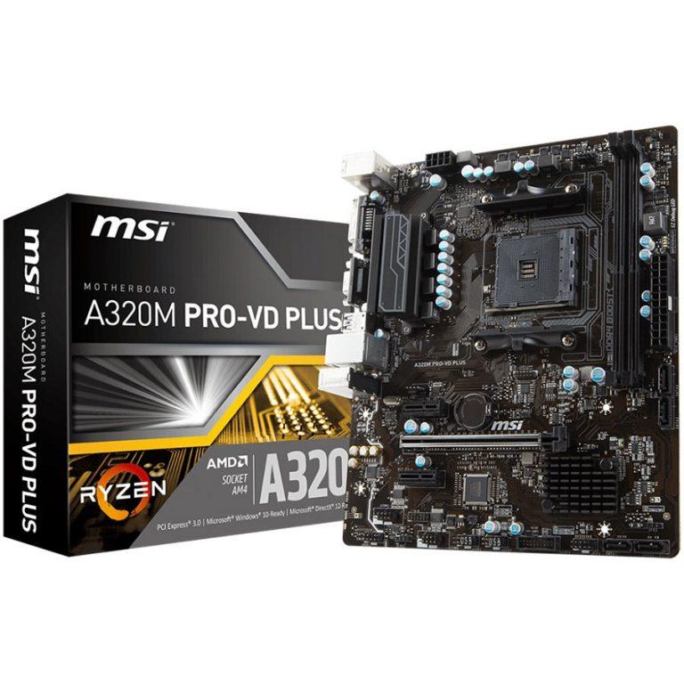 MSI A320M PRO-VD PLUS AM4 AMD A320 SATA 6Gb/s USB 3.1 Micro ATX AMD Motherboard
