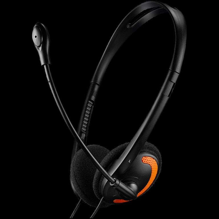 CANYON PC headset with microphone, volume control and adjustable headband, cable 1.8M, Black/Orange