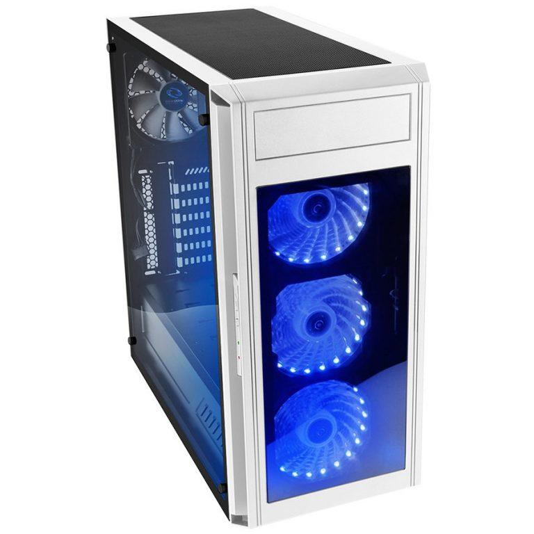 Chassis ALPHA PRIME A15 TTW Tower, ATX, 7 slots, 1 x 5.25″, 2 X 3.5″ H.D.,2 X 2.5″ H.D, 2 x AUDIO / 2 x USB3.0, PSU Optional,3 X 120mm RGB LED fan, 1 x 1200mm black fan, White