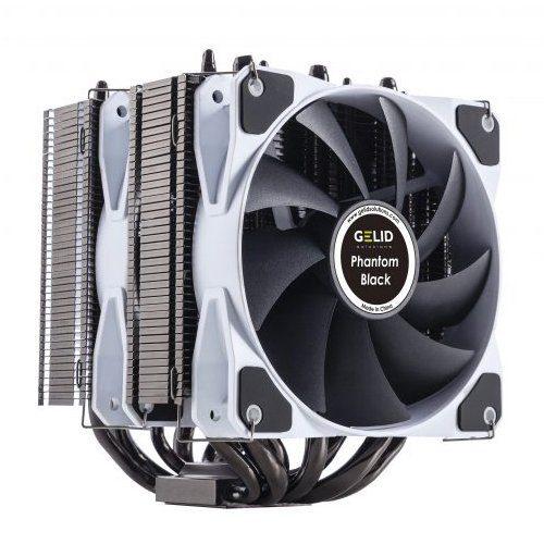 GELID PHANTOM BLACK Intel: 775/1155/1156/1366/1150/1151/2011 (Mounting clip); AMD: AM2/AM2+/AM3/AM3+/AM4/FM1/FM2; TDP 200W; Heat Sink & Fan Dimensions (mm): 118 (l) x 126 (w) x 160 (h);7 heatpipes;2 Smart PWM Fans; 5Y Warranty