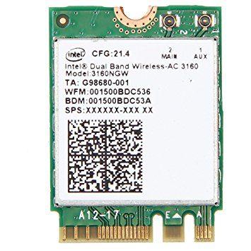 Intel Dual Band Wireless-AC 3160, 1×1 AC + BT, M.2